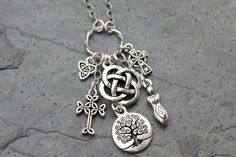 Celtic symbols silver charm cluster necklace by RowanOliviaJewelry, $52.00