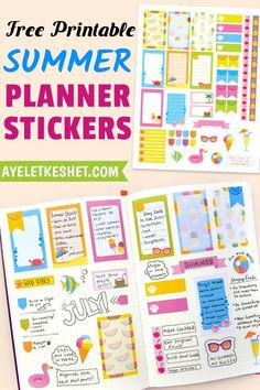 Grab your set of cute and colorful printable planner stickers for summer! This cheerful freebie will get you into the summer planning mood. Summer Planner, Happy Planner, Printable Planner Stickers, Free Printables, Planner Pages, Planner Ideas, Scrapbook Stickers, Cute Stickers, Sticker Design