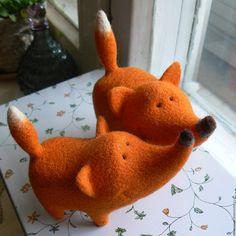 Купить шерстяной лис - рыжий, оранжевый, лис, лисичка, лисенок, лисица, подарок, игрушка, фигурка