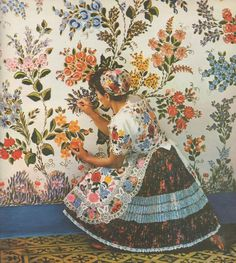 Folk Art as wallpaper - stunning. Folk Art and Folk Artists in Hungary by Gink Károly Published 1968 by Corvina Press image via une collecte Folklore, Illustrations, Illustration Art, Art Populaire, Hungarian Embroidery, Textiles, Art Plastique, Retro, Textures Patterns