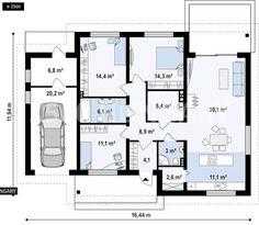 Családi ház tervek, családi ház alaprajzok, családi házépítés Building Design, Building A House, Sims 4 Build, House Floor Plans, Planer, Future House, Tiny House, Sweet Home, How To Plan