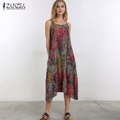 Plus Size 2017 Women ZANZEA Retro Loose Casual Floral Print Change Midi  Party Dress Sleeveless Slip 52dc8cced1cd