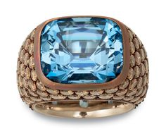 Hemmerle Copper Ring with Champagne Diamonds and Aquamarine.