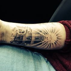 My light house tattoo. Done in aberbargoed, Caerphilly to go with my nautical themed sleeve