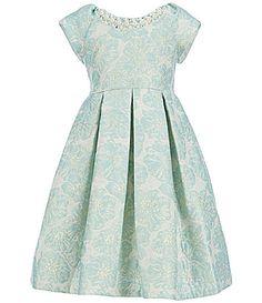 Little Girls 2T-6X Ivory//Gold Foil Knit Boucle Chiffon Sleeves Dress