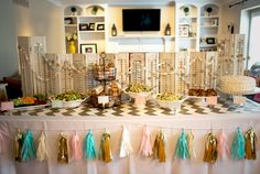 Wooden shutters as a backdrop for a baby shower food table - love this shabby chic detail!