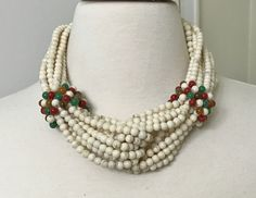 Fabulous Angela Caputi Ivory & Color Multi Strands Resin Necklace. Angela Caputi has been producing Resin and Lucite jewelry since the 1980's some of her pices are in the Metropolitan museum, she is world-renowned. | eBay!