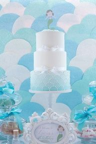 Mermaid party cake and background