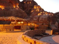 Evening lights in bedouin camp