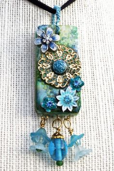 Blue Flowers Domino Collage Pendant
