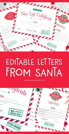 Use These Editable Letters From Santa For A Magical Christmas Printable Letters From Santa To Kids Free Printable Santa Letters, Free Letters From Santa, Personalized Letters From Santa, Santa Letter Template, Letters For Kids, Christmas Letter From Santa, Preschool Christmas, Christmas Crafts For Kids, Christmas Printables