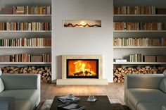 Eye-Opening Useful Tips: Double Sided Fireplace Garage tall fireplace bookshelves.Poured Concrete Fireplace dark fireplace with tv. Simple Fireplace, Fireplace Seating, Double Sided Fireplace, Fireplace Bookshelves, Fireplace Built Ins, Shiplap Fireplace, Black Fireplace, Concrete Fireplace, Fireplace Hearth