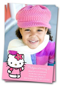 Hello Kitty Birthday Invitations : Printable Custom Photo Party Invites DIY. $11.00, via Etsy.