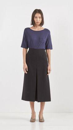 Apiece Apart Isabel Double V Skirt in Black | The Dreslyn