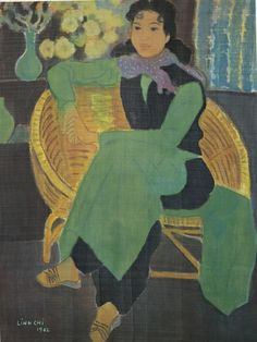 LINH CHI (B. VIETNAM 1921) - SEATED LADY IN GREEN