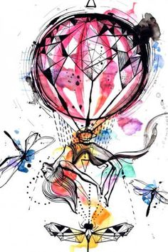 #abstract #geometry #watercolor hot air #balloon #tattoo
