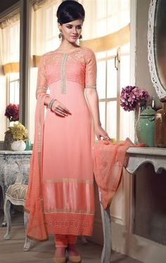 Picture of Gorgeous Peach Color Wedding Salwar Kameez