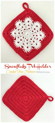 Snowflake Pot Holder Crochet Free Pattern [Video] - Crochet and Knitting Crochet Bee, Crochet Hot Pads, Crochet Potholders, Crochet Crafts, Crochet Projects, Free Crochet Potholder Patterns, Beginner Crochet Patterns, Knitting Patterns, Crochet Christmas Gifts