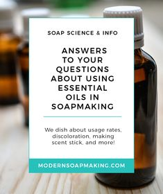 Do you have any questions about using essential oils in soapmaking? I answer common questions about fading, anchoring, discoloration, and so much more in this FAQ. Citrus Essential Oil, Patchouli Essential Oil, Essential Oil Blends, Essential Oils, Cold Press Soap Recipes, Scent Sticks, Organic Soap, Lotion Bars, Shampoo Bar