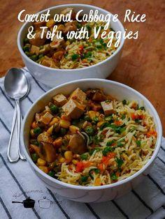Carrot Rice, Tofu & Veggie Stir-Fryce with Tofu and Veggies Stir-Fry Cabbage Rice with Tofu and Veggies Stir-FSite titlSeparatore Cabbage Rice, Fried Cabbage, Frozen Corn, Frozen Peas, Tofu Stir Fry, Veggie Stock, Lunch Menu, Garlic Sauce