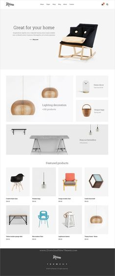 Mina is clean and minimal design multipurpose #PSD template for #furniture, handmade #shop and blogs website with 7 homepage layouts and 27 layered PSD files download now > https://themeforest.net/item/mina-responsive-furniture-handmade-shop-blog-psd-template/19893492?ref=Datasata