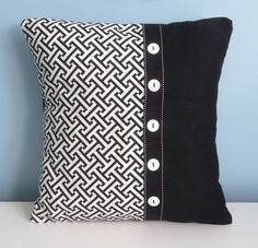 Black and white pillow cover. 18 inch decorator pillow. Embellished pillow. Modern throw pillow. Graphic pillow original design toss pillow.