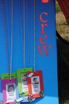 """Flight crew"" name tags...guests can write their name as they enter the party"