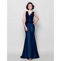 Trumpet/Mermaid Plus Sizes Mother of the Bride Dress - Dark Navy Sweep/Brush Train Sleeveless Taffeta/Lace – USD $ 89.99