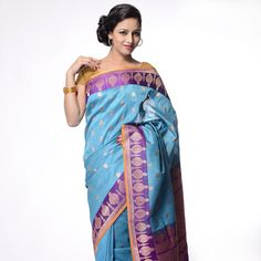Teal blue and Purple Silk Saree with Blouse Online Shopping: SAT55