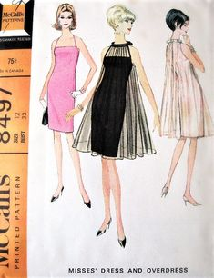STUNNING Halter Dress and Sheer Tent Overdress Pattern McCALLS 8497 Perfect Special Occasion ,Cocktail Evening Party Dress Bust 32 Vintage Sewing Pattern-Authentic vintage sewing patterns: This is a fabulous original dress making pattern, not a 1960s Fashion Dress, Fashion Sewing, Retro Fashion, Vintage Fashion, Vintage Dresses 1960s, Vintage Dress Patterns, Vintage Outfits, Dress Illustration, Dress Making Patterns