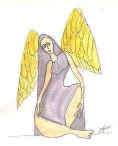 Angel cansado. Acuarela y tinta.