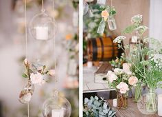 Hanging flowers over dessert table.