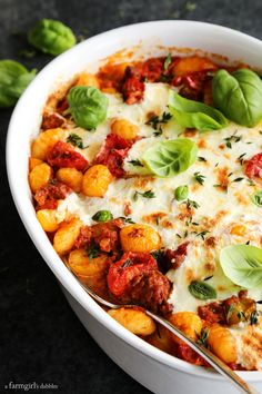 Cheesy Baked Gnocchi with Tomatoes and Sausage from afarmgirlsdabbles.com