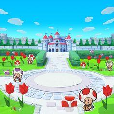 Kings Game, Paper Mario, Mario Bros., Toad, Baseball Field, Origami, Nintendo, Cartoons, Universe