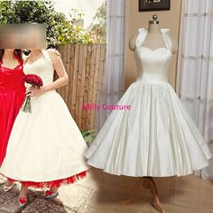 Sweetheart Halter tea length wedding dress marilyn by MillyCouture, $149.00