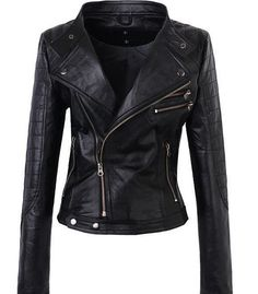 Handmade Women Black Leather Jacket Double Collar only: $169.99