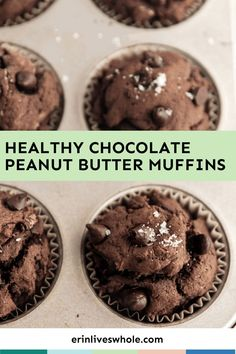 Enjoy your three favorite muffin flavors with these Healthy Chocolate Peanut Butter Banana Muffins. Made with simple ingredients and lots of flavor, you're truly in for a treat!