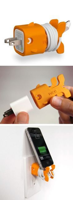 Goldie Goldfish Cord Storage - so cute! via nicebydesign.com (Cool Gadgets Buzzfeed)