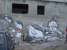 #streetart #goddog  L'armée des trois tortues... by - GoddoG -, via Flickr Urban Street Art, Graffiti, Dogs, Painting, Home Decor, Turtle, Doggies, Painting Art, Interior Design