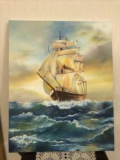 """""""Yelkenli"""". 40x50 cm tuval üzeri yağlı boya. 2017."""