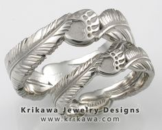 Native American Wedding Bands Feather And Claw Set