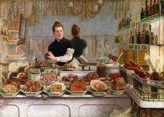 A Pork Butcher's Shop by Edouard-Jean Dambourgez (1844 - 1890) Paris