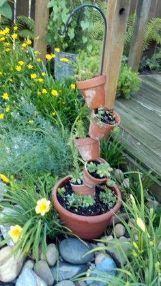 Made This With A Short Shepherds Hook And Terra Cotta Pots Planted Succulents Hookpotted Plantsoutdoor Gardensterra