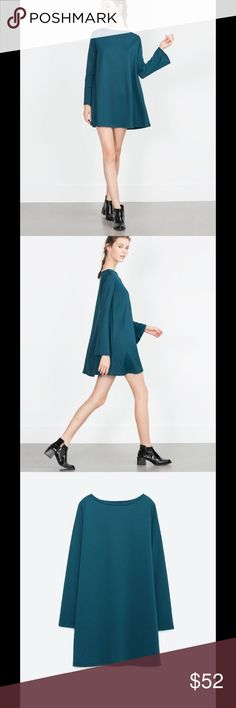 Zara mini dress teal Mini dress bell sleeves perfect to pair it with long boots. Amazing fall outfit Zara Dresses Mini