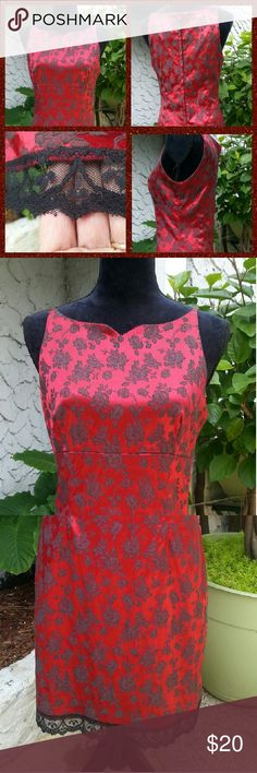 """Stunning My Michelle - Dress Size 13/14 My Michelle Dress - Size 13/14 Does have some stretch to the material. Red w/Black Roses and Black Lace. Zips in the back of the dress. Kindly Worn. I adore this dress....but it is to small for me anymore. It is very flattering to all shapes. I accept all resonable offers.  Measurements: I am 5' 5"""" and the dress comes to right above my knee. Dress Length - Top of zipper to the bottom of the lace 32 1/2"""" Waist - 17"""" Arm Opening - 9"""" Lace - 1 1/2""""…"""