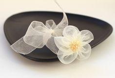 Bracelet with organza flower and ribbon - bridal - wedding - white. $7.00, via Etsy.