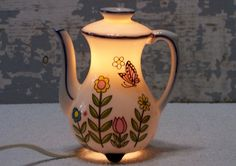 Teapot Nightlight Small Lamp Made in Japan Flowers and Butterfly Decorated Desk or Counter Top Electric Lamp Tea Lover Gift