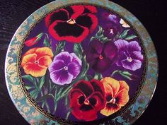 Very Colorful Pansy Flower Design Vintage Tin Storage Container