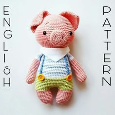 Freddy the little piglet Pattern Amigurumi Schwein Amalou.Designs Crochet Pig, Crochet Animals, Crochet Toys, Amigurumi, Hello Kitty, Dinosaur Stuffed Animal, Teddy Bear, Crochet Patterns, Dolls