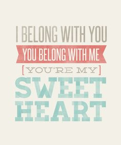 I Belong With You, You Belong With Me, You're My Sweetheart - Lyrics by The Lumineers
